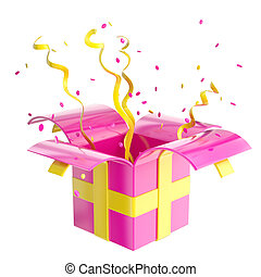 Holiday gift box with confetti and serpentine - Holiday...