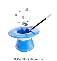 Magician hat and magic wand with stars inside it, isolated...