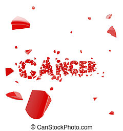 Overcome cancer, word broken into pieces - Overcome cancer,...