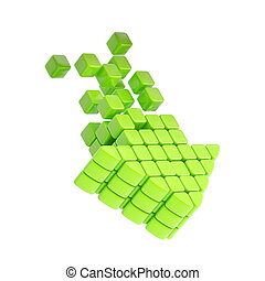 Technology cube arrow green plastic icon