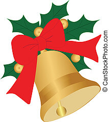 Christmas Bell with ribbon and Ilex-Vector-EPS