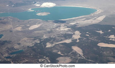 Flying (10X) above geography change - Aerial view from an...