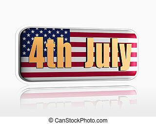 fourth of July banner - fourth of July golden text over 3d...