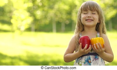 Portrait of child hugging vegetable - Children and food...