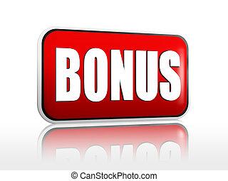 bonus banner - 3d red block like banner with text - bonus