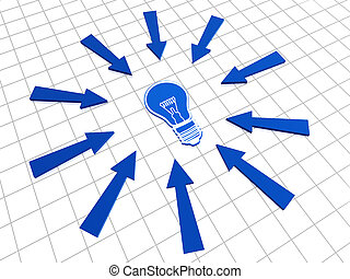 blue bulb and arrows - 3d blue bulb with arrows over white