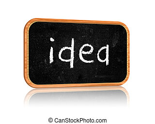 idea on blackboard banner - text idea on 3d isolated...