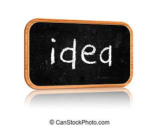 idea on blackboard banner - text idea on 3d isolated...
