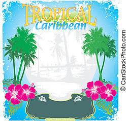 carribean tropical island frame - illustration for shirt...
