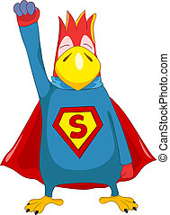 Superparrot - Cartoon Character Funny Superparrot Isolated...