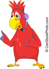 Funny Parrot Comunication - Cartoon Character Funny Parrot...