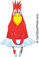 Funny Parrot Dancer - Cartoon Character Funny Parrot...