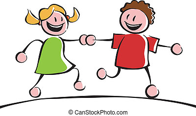 Two kids holding hands - Two running kids (boy and girl)...