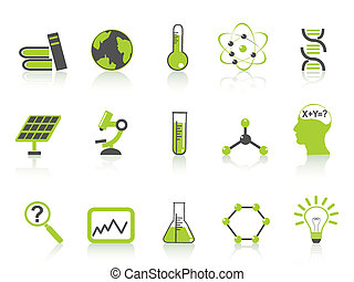 simple science icons set,green series - isolated green...