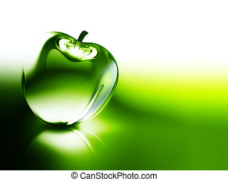 crystalline green apple on a dark background