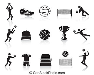 black volleyball icons set - isolated black volleyball icons...
