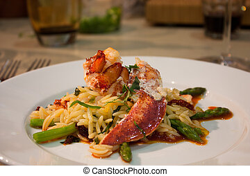lobster risotto - a beautiful plate of lobster risotto