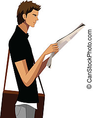 Side view of man holding newspaper - There is a handsome guy...
