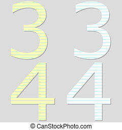 Paper Font Set Numbers 3 and 4