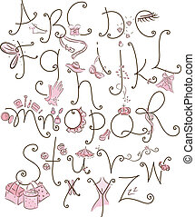 Girly Alphabet - Alphabet Illustration with a Girly Theme