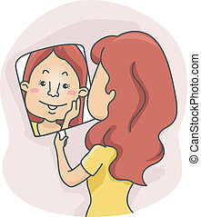 Mirror Girl - Illustration of a Girl Checking Herself in the...