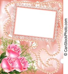 frame for photo with rose and pearl - illustration frame for...
