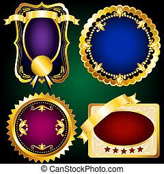 Set 2 of golden vintage labels
