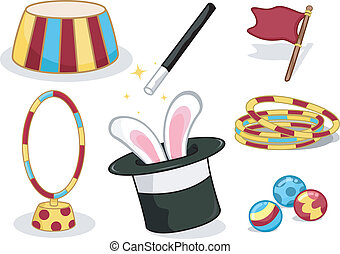 Circus Elements - Illustration Featuring Circus Related...