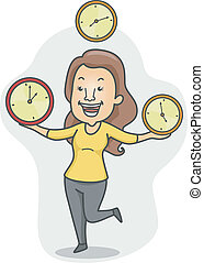 Multitasking Girl - Illustration of a Girl Juggling Time