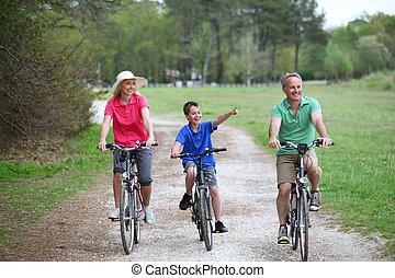 田舎, 乗馬,  bicycles, 家族