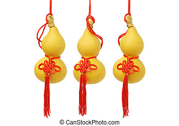Chinese New Year Bottle Gourd Ornaments on White Background