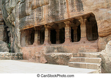 Rock-cut Cave - Cave IV dedicated Jainism at Badami,...