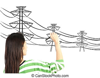 woman drawing electric pylon and wire