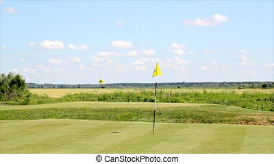 course with two yellow flags