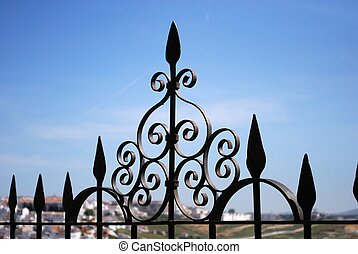 Wrought iron fence, Ronda - Ornate ironwork fence, Ronda,...