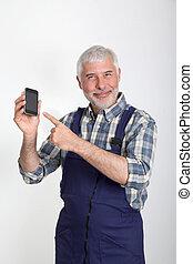 móvil, teléfono, artesano, retrato