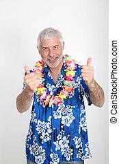 tropicais,  Sênior, desfrutando, férias, homem