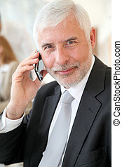 Portrait of senior businessman talking on the phone