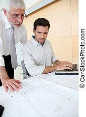 Arquitectos, trabajando, planificación
