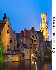 Night view on Belfort in Bruges - A night view on Belfort...