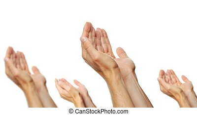 praying hands of a men isolated on white background