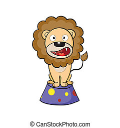 Circus lion on a pedestal - Vector illustration of cute...