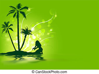 Tropical Holiday - Abstract Background Illustration, Vector