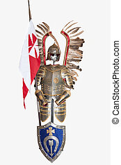 Medieval armor. - Polish winged knight with flag and shield....