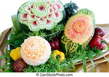 MIxed Fruit carvings is isolated on white - Fruit carvings...