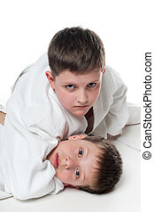 Children wrestling