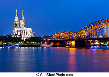 View of night Cologne over the Rein