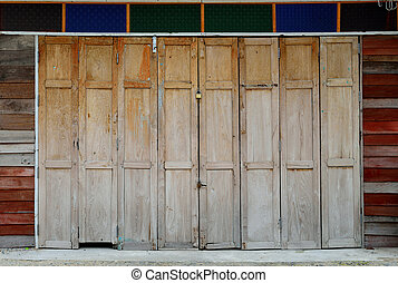 The vintage wooden door