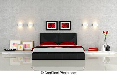 Modern bedroom - Modern black and red bedroom - rendering