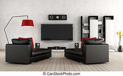 Home cinema - Living Room with home cinema equipment